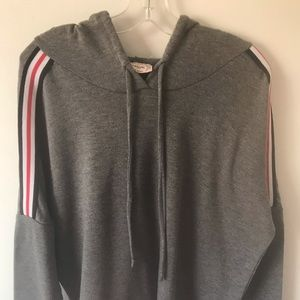 Grey cop shirt with hoodie with stripes on arm